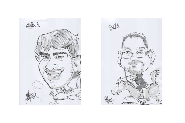 2006 - staff party caricatures of Dan and Olly