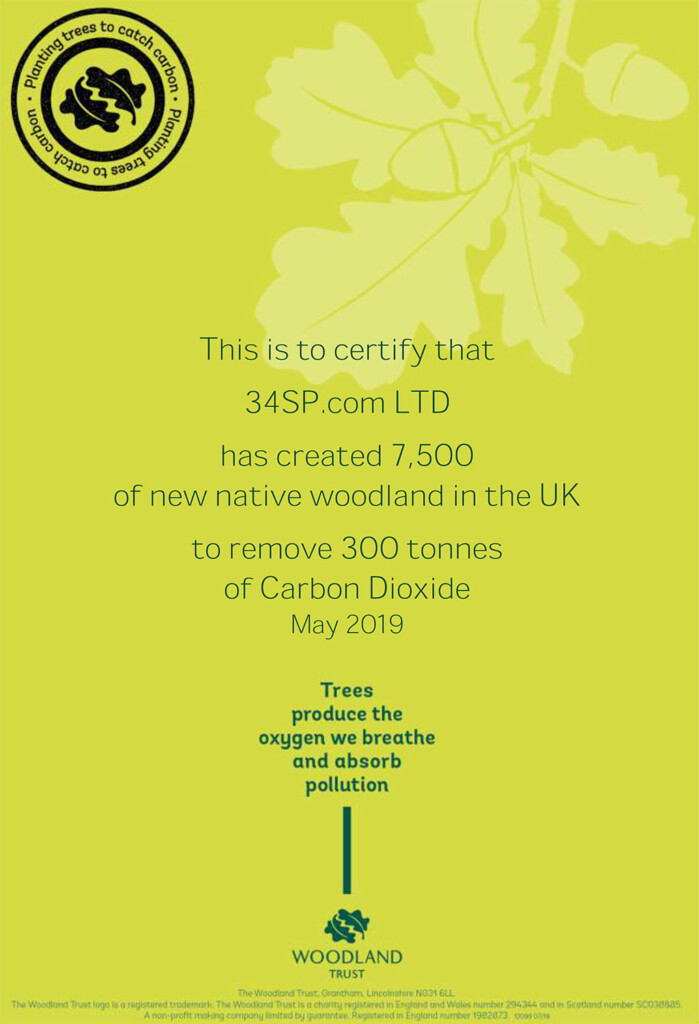 34SP.com Woodland Carbon Certificate 2019