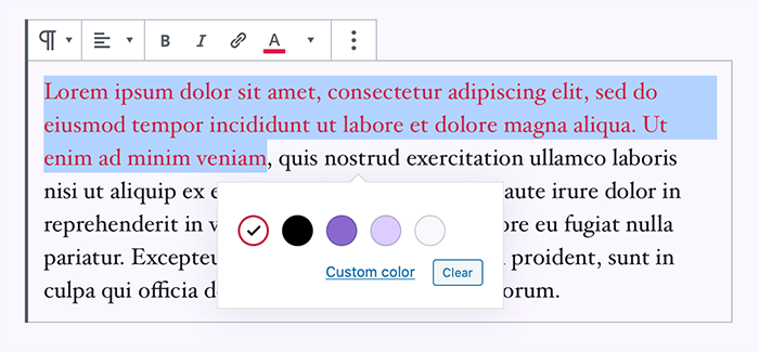 Text color changed using Gutenberg