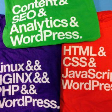 34SP.com tshirts swag at WordCamp Edinburgh 2017