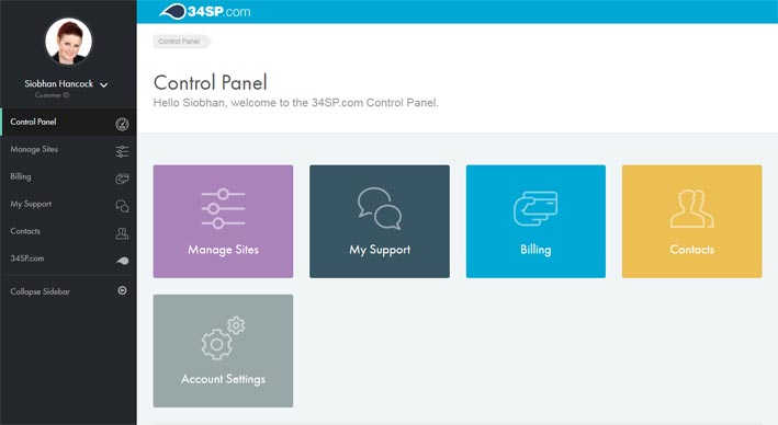 screenshot of the account holder control panel