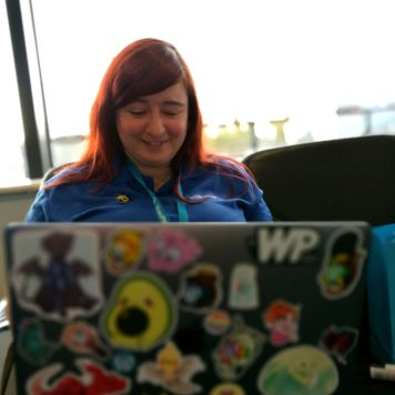 Kayleigh psyching herself up for WordCamp Dublin talk: Making kitten GIF galleries fabulous