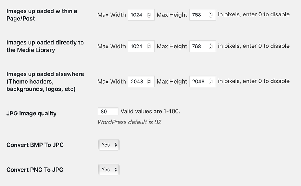 Imsanity WordPress plugin settings