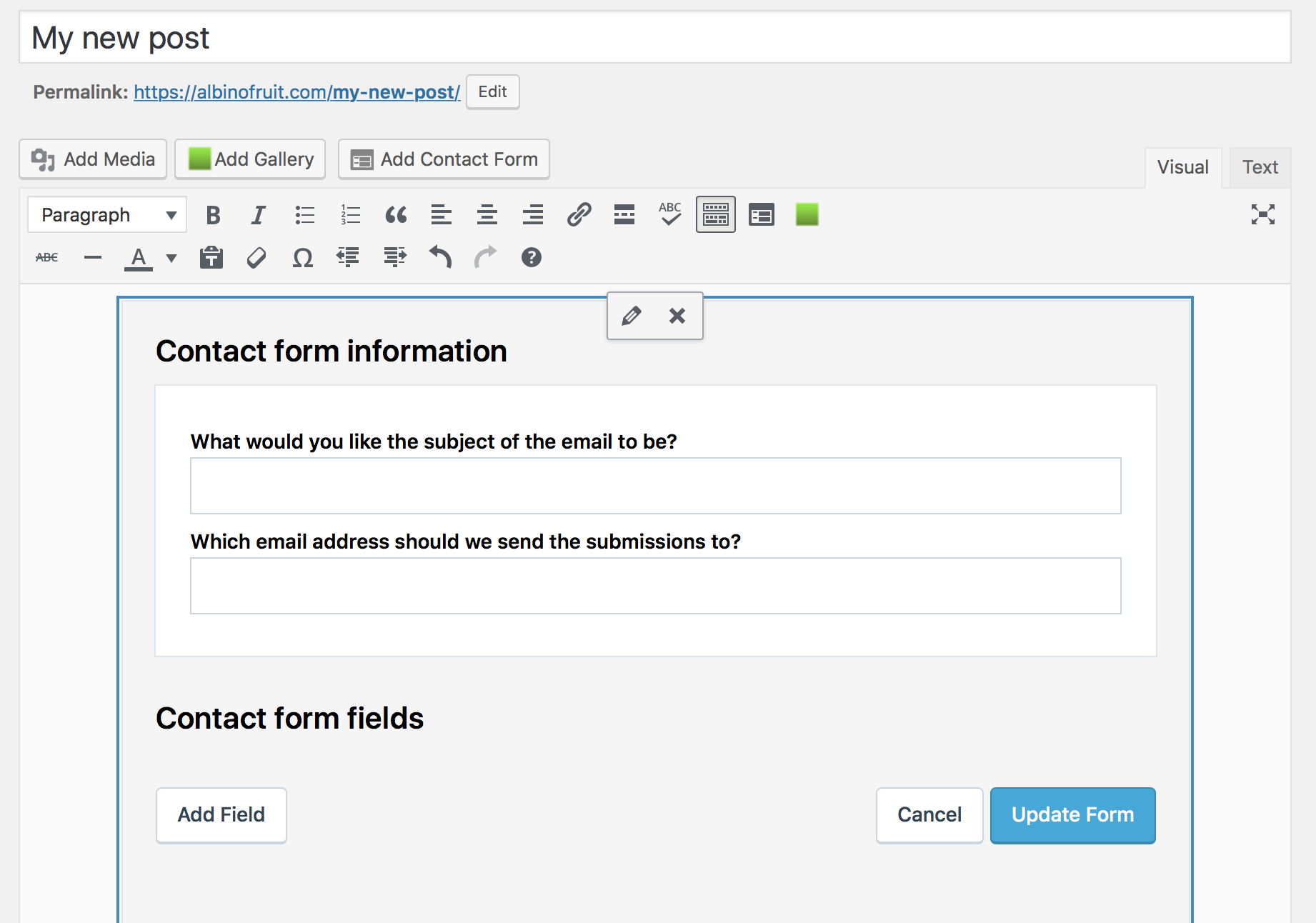 Jetpack's contact form editor