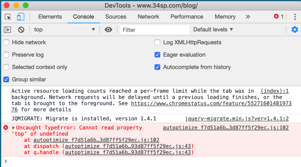 Javascript Error in Google Chrome Console